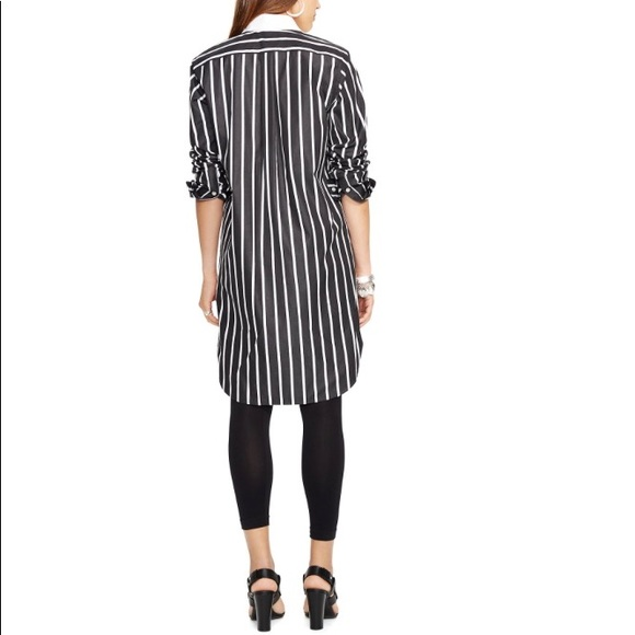 Blackamp; Ralph Stripe Dress Polo Lauren White Shirt L4A3R5j
